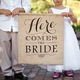 Hortense B Hewitt Here Comes The Bride Burlap Sign