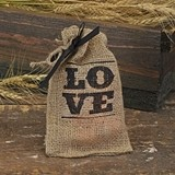 Rustic Stacked LOVE Design Burlap Favor Bags (Package of 25)