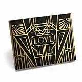 Personalized Black Guest Book with Gold Foil Art Deco Design