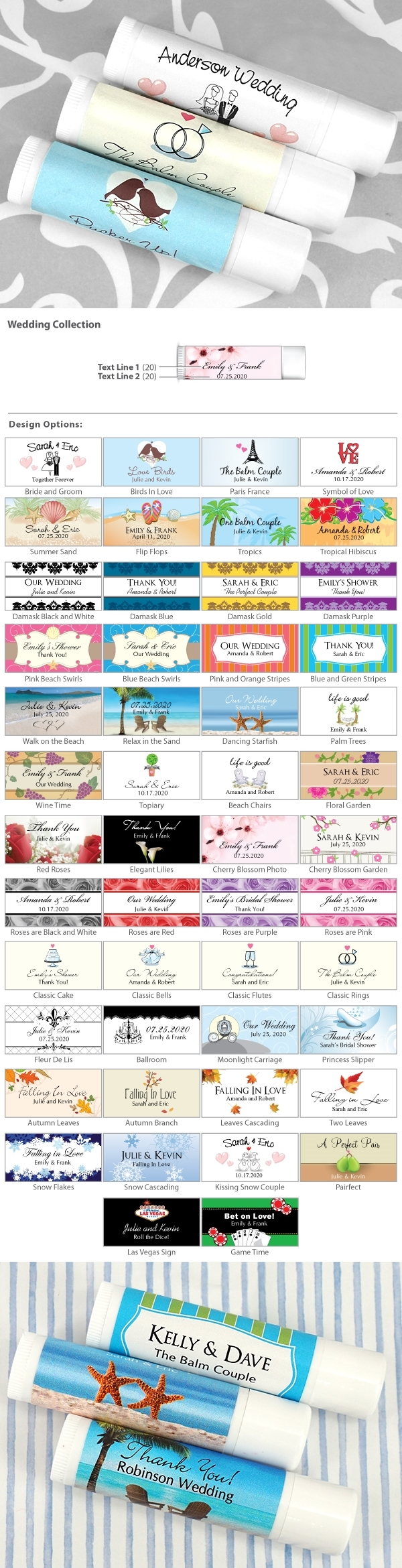 Ducky Days Personalized Lip Balm in White Tube (Wedding Designs)