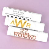 Personalized Lip Balm in White Tube with Metallic Foil Stickers