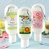 Personalized Baby Shower Designs SPF-30 Sunscreen Bottle w/ Carabiner