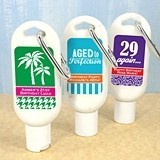 Personalized SPF-30 Sunscreen with Carabiner (Adult Birthday Designs)