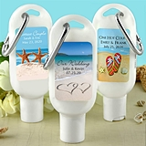 Personalized SPF-30 Sunscreen Bottle with Carabiner (Wedding Designs)