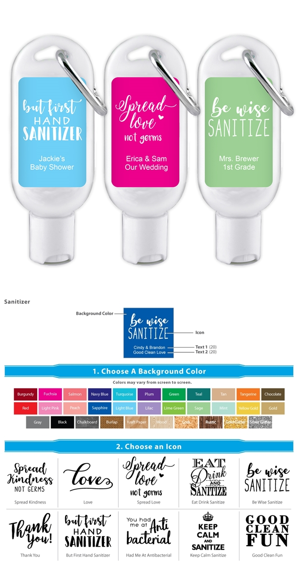 Hand Sanitizer Bottle with Carabiner and Personalized Catchy Slogans