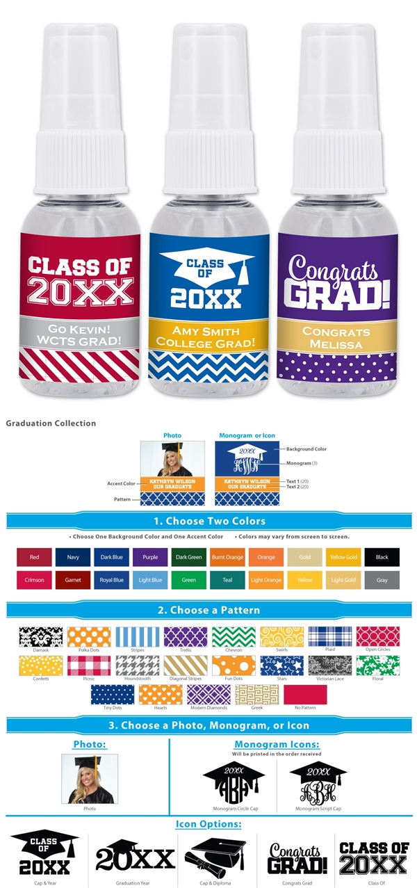 Ducky Days Personalized 1oz Hand Sanitizer Spray (Graduation Designs)