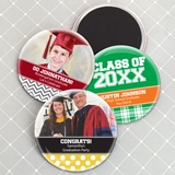 Personalized Round Glossy-Finish Magnets (Graduation Designs)