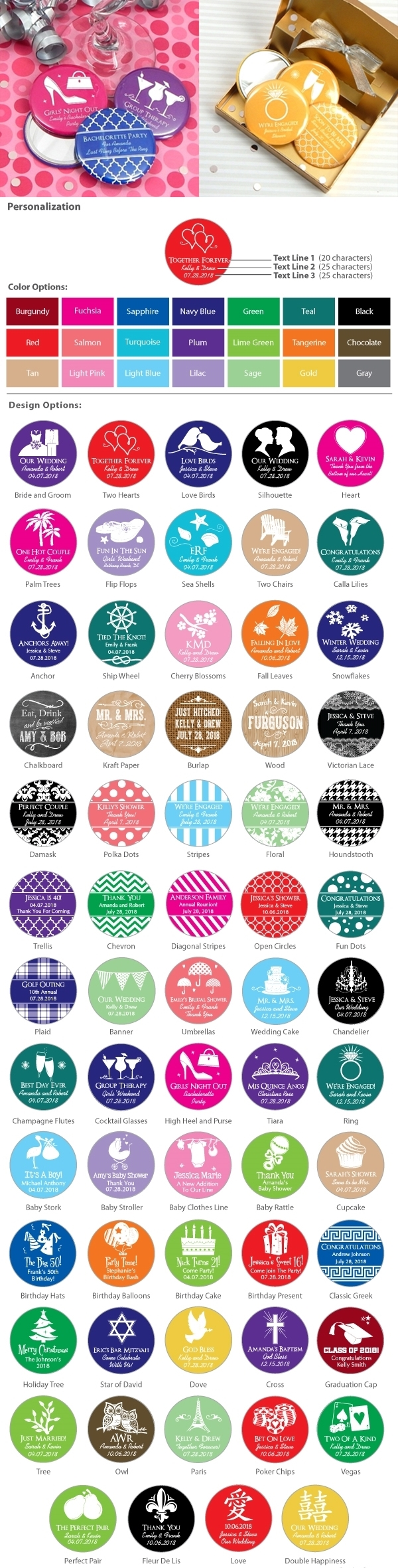 Personalized Round Glossy-Topped Compact Mirror (Silhouette Designs)