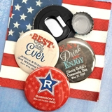 Personalized Glossy Disc-Shaped Bottle Openers with Patriotic Designs