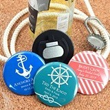Personalized Glossy Disc-Shaped Bottle Openers (Silhouette Designs)