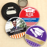 Personalized Glossy Disc-Shaped Bottle Openers (Graduation Designs)