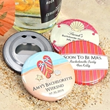 Ducky Days Personalized Glossy Round Bottle Openers (Wedding Designs)