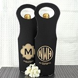Monogrammed Black Faux Leather Wine Tote Bags (17 Designs)