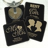 Personalized Square Black Faux Leather Coasters (125 Designs)