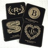 Monogrammed Square Black Faux Leather Coasters (17 Designs)