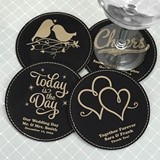 Personalized Round Black Faux Leather Coasters (125 Designs)