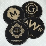 Monogrammed Round Black Faux Leather Coasters (17 Designs)