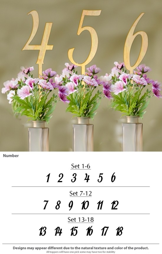 Contemporary-Slant Numeric Wood Table Numbers (Set of 6)