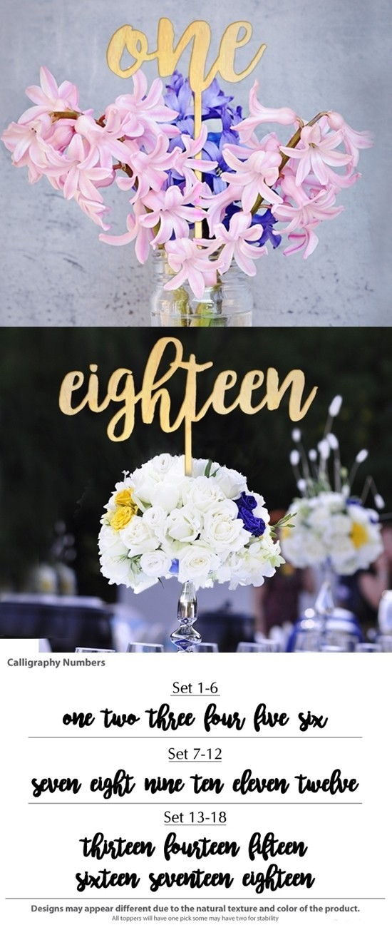 Stylish Shabby Chic Wood Calligraphy Table Numbers (Set of 6)