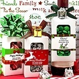 Personalized Holiday Bottle-Hanger Favor Boxes