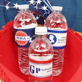 Personalized Patriotic Designs Water Bottle Labels (Set of 5)