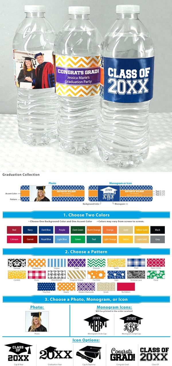 Graduation Designs Personalized Water Bottle Labels Set Of 5