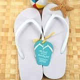 Wedding White Flip-Flops with Personalized Flip-Flop Tags (Set of 6)