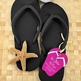 Wedding Black Flip-Flops with Personalized Flip-Flop Tags (Set of 6)