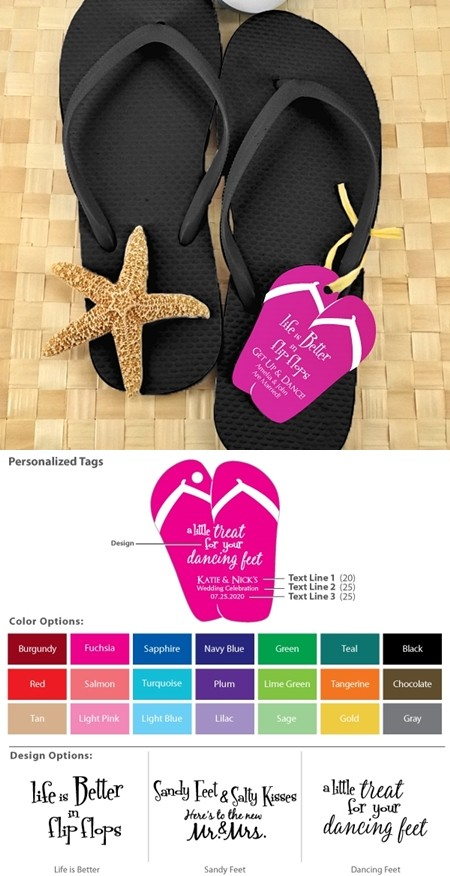 c36c3a929721d Wedding Black Flip-Flops with Personalized Flip-Flop Tags (Set of 6 ...