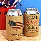Personalized Patriotic Burlap Can Coolers (20 Designs)