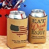 Personalized Patriotic Burlap Can Coolers (20 Designs)