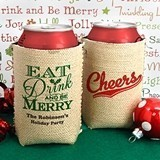 Personalized Burlap Holiday Can Coolers (25 Designs)