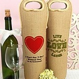 Personalized Burlap Wine Tote Bags (125 Designs)