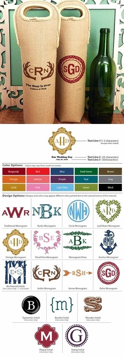 Monogrammed Burlap Wine Tote Bags (17 Designs)
