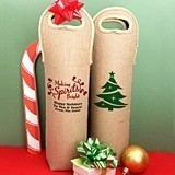 Personalized Burlap Holiday Wine Tote Bags (25 Designs)