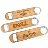 Custom Corporate Logo Wood-Paddle Stainless-Steel Bottle Opener
