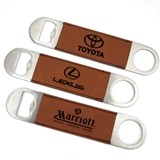 Custom Corporate Logo Brown Faux-Leather-Paddle Bottle Opener