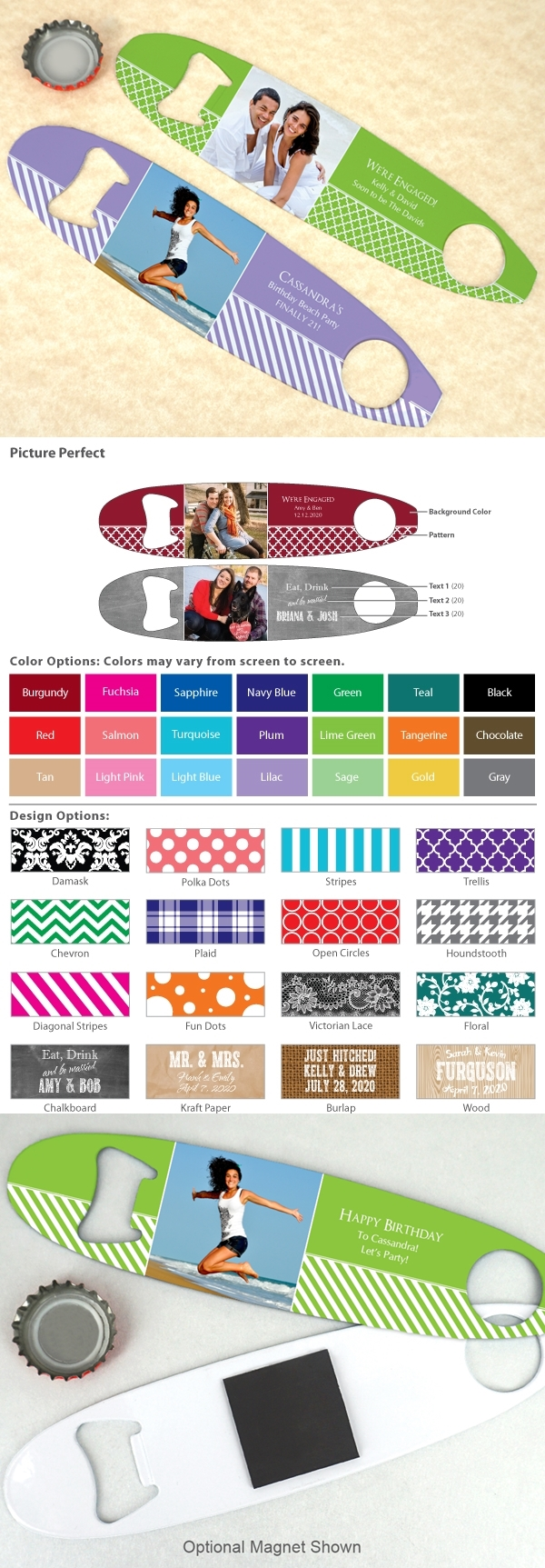 Custom Picture Perfect Photo Stainless Steel Surfboard Bottle Opener