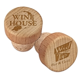Custom Corporate Logo Engraved Wood Top Wine Bottle Stopper