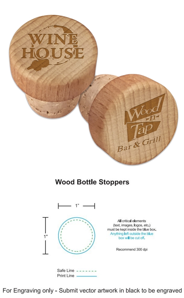 Custom Corporate Logo Engraved Wood Top Wine Bottle Stopper