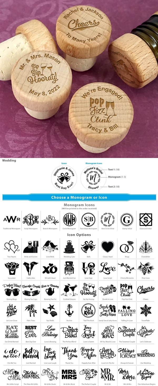 Personalized Engraved Wood Top Bottle Stopper (64 Unique Designs)
