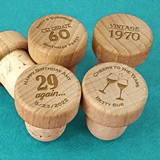 Personalized Wood Top Bottle Stopper (48 Adult Birthday Designs)