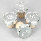 Holiday Personalized Silver Aluminum Top Bottle Stopper (42 Designs)