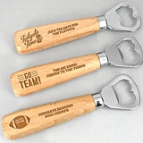 Sports-Themed Personalized Wood-Handled Bottle Opener (39 Designs)