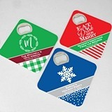 Holiday Personalized Square Bottle Opener Coasters (42 Designs)