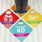 Personalized Square Bottle Opener Coasters (48 Adult Birthday Designs)