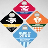 Personalized Square Bottle Opener Coasters (Graduation Designs)