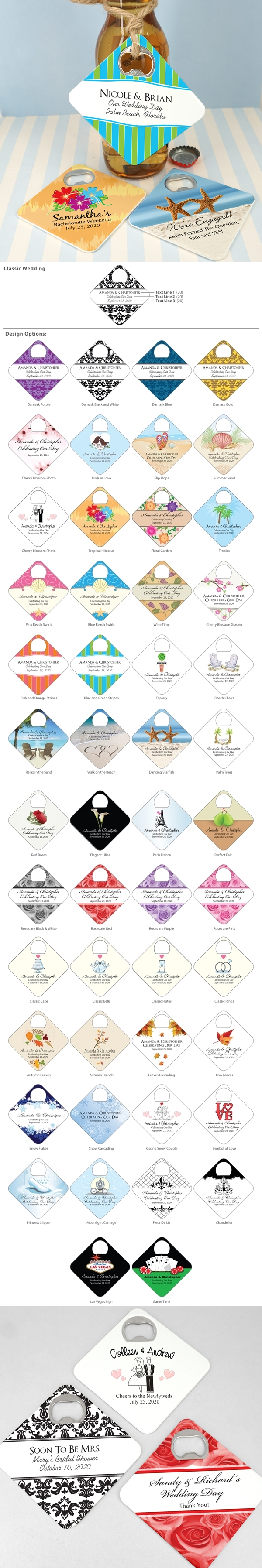 Ducky Days Personalized Square Bottle Opener Coasters (64 Designs)