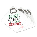 Eat Drink and Be Merry Square Bottle Opener Coasters (Set of 4)