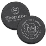 Custom Corporate Logo Natural Slate Round Coasters